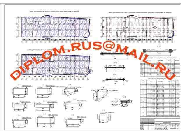 - Схема расположения каркасов перекрытия М 1:100, узлы М 1:50, разрезы М 1:20, спецификация элементов.
